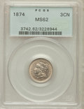 Three Cent Nickels: , 1874 3CN MS62 PCGS. PCGS Population (18/144). NGC Census: (15/108).Mintage: 789,300. Numismedia Wsl. Price for problem fre...