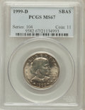 Susan B. Anthony Dollars: , 1999-D SBA$ MS67 PCGS. PCGS Population (790/116). NGC Census:(0/0). Numismedia Wsl. Price fo...