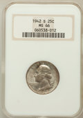 Washington Quarters: , 1942-S 25C MS66 NGC. NGC Census: (259/61). PCGS Population(231/32). Mintage: 19,384,000. Numismedia Wsl. Price for problem...