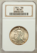Walking Liberty Half Dollars: , 1941 50C MS66 NGC. NGC Census: (2305/555). PCGS Population(2664/494). Mintage: 24,207,412. Numismedia Wsl. Price for probl...