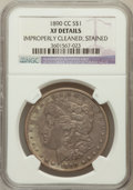 Morgan Dollars, 1890-CC $1 -- Improperly Cleaned, Stained -- NGC Details. XF. NGCCensus: (72/5267). PCGS Population (139/9507). Mi...