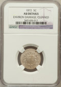 Shield Nickels, 1872 5C -- Environmental Damage, Cleaned -- NGC Details. AU. NGCCensus: (3/212). PCGS Population (10/303). Mintage: 6...