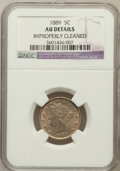 Liberty Nickels, 1889 5C -- Improperly Cleaned -- NGC Details. AU. NGC Census:(0/537). PCGS Population (4/526). Mintage: 15,881,361. Nu...