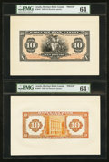 Canadian Currency: , Montreal, PQ- Barclays Bank (Canada) $10 Sept. 3, 1929 Ch #30-10-04P Face and Back Proofs. ... (Total: 2 notes)