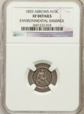 Seated Half Dimes, 1855 H10C Arrows -- Environmental Damage -- NGC Details. XF. NGC Census: (3/219). PCGS Population (4/184). Mintage: 1,750,...