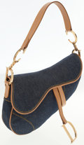 Luxury Accessories:Bags, Christian Dior Denim and Tan Leather Saddle Bag. ...