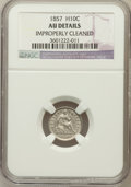 Seated Half Dimes, 1857 H10C -- Improperly Cleaned -- NGC Details. AU. NGC Census: (11/709). PCGS Population (17/541). Mintage: 7,280,000....