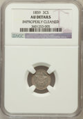 Three Cent Silver, 1859 3CS -- Improperly Cleaned -- NGC Details. AU. NGC Census:(1/275). PCGS Population (13/336). Mintage: 364,200. Numisme...