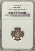 Seated Half Dimes, 1857 H10C -- Environmental Damage -- NGC Details. XF. NGC Census:(6/735). PCGS Population (9/581). Mintage: 7,280,000...