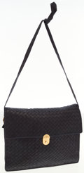 Luxury Accessories:Bags, Bottega Veneta Navy Intrecciato Leather Clutch with Shoulder Strap....