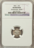 Three Cent Silver, 1861 3CS -- Bent, Damaged -- NGC Details. AU. NGC Census: (8/711).PCGS Population (29/774). Mintage: 497,000. Numismedia W...
