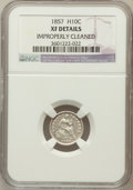 Seated Half Dimes, 1857 H10C -- Improperly Cleaned -- NGC Details. XF. NGC Census:(6/735). PCGS Population (9/581). Mintage: 7,280,000. N...