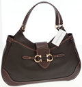 Luxury Accessories:Bags, Salvatore Ferragamo Brown Leather Large Hobo Shoulder Bag. ...