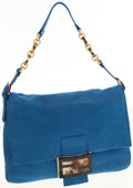 Luxury Accessories:Bags, Fendi Royal Blue Leather Big Mamma Bag with Tortoise SignatureZucca Clasp. ...