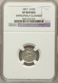 Seated Half Dimes, 1857 H10C -- Improperly Cleaned -- NGC Details. XF. NGC Census:(6/735). PCGS Population (9/581). Mintage: 7,280,00...