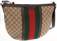 Gucci Monogram Canvas Shoulder Bag with Classic Red and Green Stripe