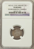 Seated Dimes, 1873 10C Closed 3, No Arrows -- Environmental Damage -- NGCDetails. VF. NGC Census: (0/38). PCGS Population (0/43). Minta...
