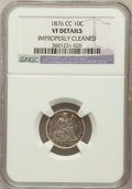Seated Dimes, 1876-CC 10C -- Improperly Cleaned -- NGC Details. VF. NGC Census:(1/291). PCGS Population (10/354). Mintage: 8,270,000...