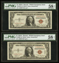 Small Size:World War II Emergency Notes, Fr. 2300 $1 1935A Hawaii Silver Certificates. A-C Block. TwoConsecutive Examples. PMG Choice About Unc 58 EPQ.. ... (Total: 2notes)
