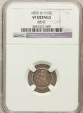 Seated Half Dimes, 1852-O H10C -- Bent -- NGC Details. VF. NGC Census: (1/45). PCGSPopulation (6/61). Mintage: 260,000. Numismedia Wsl. Price...