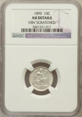 Seated Dimes, 1890 10C -- Obv Scratched -- NGC Details. AU. NGC Census: (5/470).PCGS Population (5/477). Mintage: 9,910,951. Numismedia ...