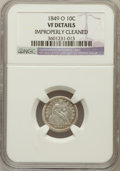 Seated Dimes, 1849-O 10C -- Improperly Cleaned -- NGC Details. VF. NGC Census:(2/60). PCGS Population (5/77). Mintage: 300,000. Numismed...
