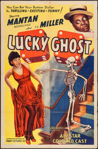 "Lucky Ghost (Toddy Pictures, R-1943). One Sheet (27"" X 41"") AKA Lady Luck. Black Films"