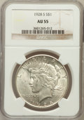 Peace Dollars: , 1928-S $1 AU55 NGC. NGC Census: (221/3957). PCGS Population(225/5246). Mintage: 1,632,000. Numismedia Wsl. Price for probl...