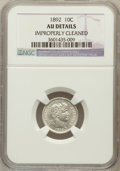 Barber Dimes, 1892 10C -- Improperly Cleaned -- NGC Details. AU. NGC Census:(6/1142). PCGS Population (17/1334). Mintage: 12,121...
