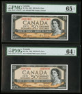 Canadian Currency: , BC-34a $50 1954. ... (Total: 2 notes)