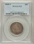 Seated Quarters: , 1868-S 25C Fine 12 PCGS. PCGS Population (6/42). NGC Census:(1/32). Mintage: 96,000. Numismedia Wsl. Price for problem fre...