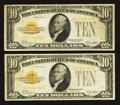 Small Size:Gold Certificates, Fr. 2400 $10 1928 Gold Certificate. Very Fine. Two Examples.. ... (Total: 2 notes)