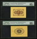 Fractional Currency:First Issue, Fr. 1231SP 5¢ First Issue Wide Margin Pair PMG Superb GemUncirculated 68 EPQ and Gem Uncirculated 65 EPQ.. ... (Total: 2notes)