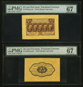 Fractional Currency:First Issue, Fr. 1282SP 25¢ First Issue Wide Margin Pair Both PMG Superb Gem Unc67 EPQ.. ... (Total: 2 notes)