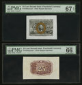 Fractional Currency:Second Issue, Fr. 1283SP 25¢ Second Issue Wide Margin Pair PMG Superb Gem Unc 67 EPQ and Gem Unc 66 EPQ.. ... (Total: 2 notes)