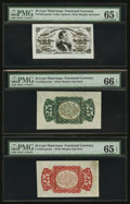 Fractional Currency:Third Issue, Fr. 1291/4SP 25¢ Third Issue Wide Margin Set of Three PMG Gem Uncirculated 66 EPQ, Gem Uncirculated 65 EPQ, and Gem Uncirculat... (Total: 3 notes)