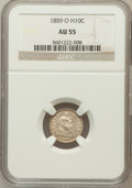 Seated Half Dimes: , 1859-O H10C AU55 NGC. NGC Census: (6/93). PCGS Population (5/75).Mintage: 560,000. Numismedia Wsl. Price for problem free ...