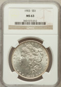 Morgan Dollars: , 1903 $1 MS63 NGC. NGC Census: (2120/7142). PCGS Population(2725/8182). Mintage: 4,652,755. Numismedia Wsl. Price for probl...