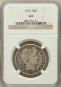 Barber Half Dollars: , 1913 50C Good 6 NGC. NGC Census: (56/165). PCGS Population(248/621). Mintage: 188,000. Numismedia Wsl. Price for problem f...