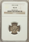 Mercury Dimes: , 1921-D 10C VG10 NGC. NGC Census: (54/458). PCGS Population(128/847). Mintage: 1,080,000. Numismedia Wsl. Price for problem...