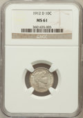 Barber Dimes: , 1912-D 10C MS61 NGC. NGC Census: (16/197). PCGS Population (6/232).Mintage: 11,760,000. Numismedia Wsl. Price for problem ...