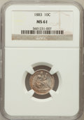 Seated Dimes: , 1883 10C MS61 NGC. NGC Census: (13/361). PCGS Population (15/421).Mintage: 7,674,673. Numismedia Wsl. Price for problem fr...