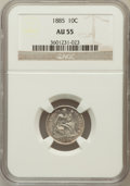 Seated Dimes: , 1885 10C AU55 NGC. NGC Census: (6/293). PCGS Population (9/287).Mintage: 2,532,497. Numismedia Wsl. Price for problem free...