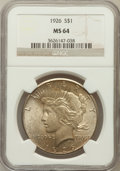 Peace Dollars: , 1926 $1 MS64 NGC. NGC Census: (3094/745). PCGS Population(3550/1370). Mintage: 1,939,000. Numismedia Wsl. Price forproble...