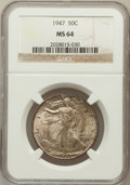 Walking Liberty Half Dollars: , 1947 50C MS64 NGC. NGC Census: (2476/3456). PCGS Population(4352/4613). Mintage: 4,094,000. Numismedia Wsl. Price for prob...
