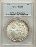 Morgan Dollars: , 1882 $1 MS63 PCGS. PCGS Population (5765/6191). NGC Census:(5921/7576). Mintage: 11,101,100. Numismedia Wsl. Price for pro...