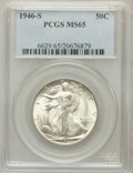 Walking Liberty Half Dollars: , 1946-S 50C MS65 PCGS. PCGS Population (5907/1624). NGC Census:(4036/1367). Mintage: 3,724,000. Numismedia Wsl. Price for p...
