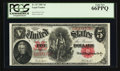 Large Size:Legal Tender Notes, Fr. 87 $5 1907 Legal Tender PCGS Gem New 66PPQ.. ...
