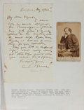 Autographs:Authors, [Charles Farrar Browne] Artemus Ward, American Writer. Autograph Letter Signed and Small Signed Photograph. Very good....
