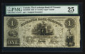 Canadian Currency: , Toronto, UC - The Exchange Bank of Toronto $1 May. 1, 1855 Ch. #255-10-02R Remainder. ...